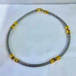 Philipe Charriol 2 tone st steel cable necklace
